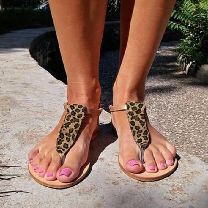 Leopard Slip On Flat Sandals