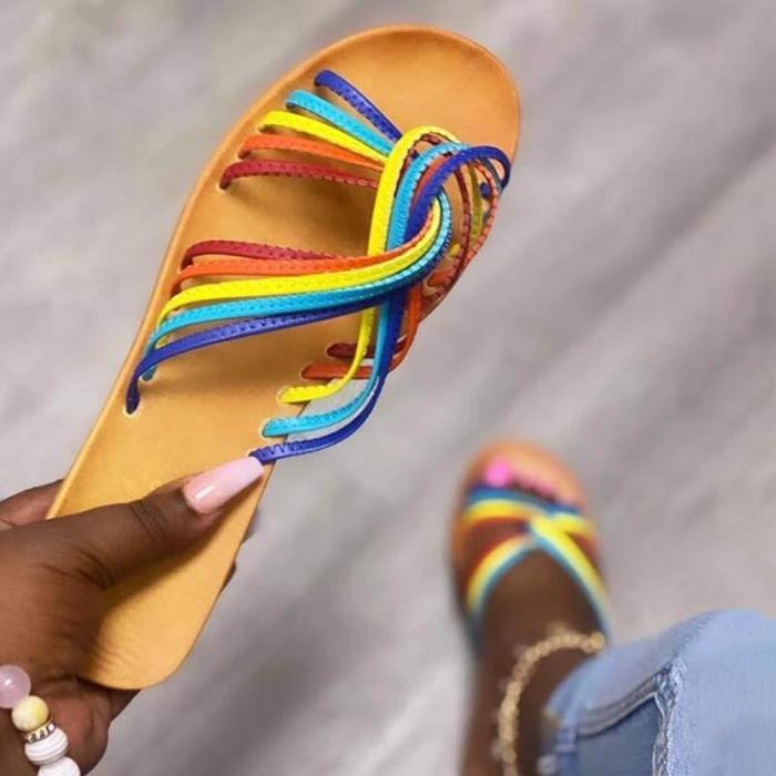 Women Fashion Rainbow Stripe Hit Color Open Toe Slip On Flat Heel Slippers