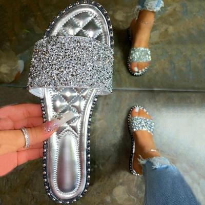 Women Casual Shining Paillette Open Toe Slip On Flat Heel Slippers