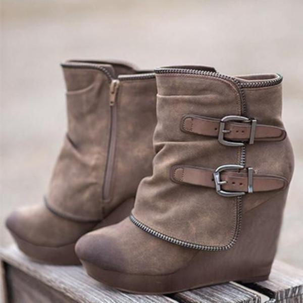 Women's Winter Ankle Zipper Buckle Platform  Boots