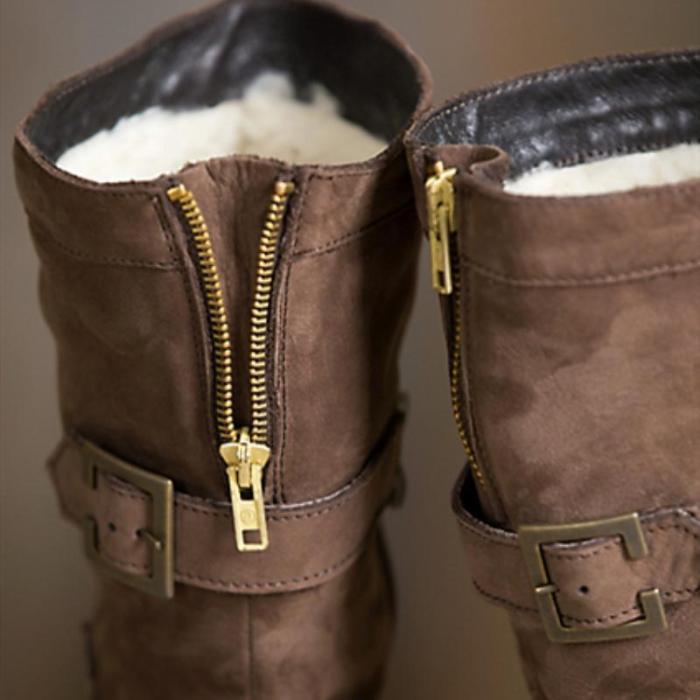 Women Vintage Warm Brown Snow Boots