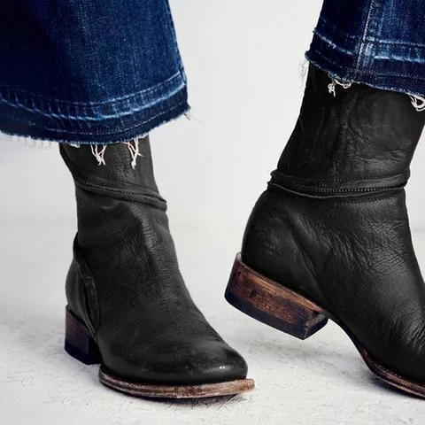 Women Distressed Ankle Boots Pointed Western Style Faux Leather Boots