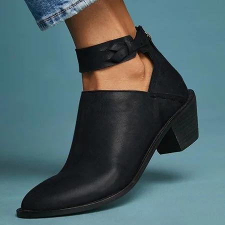 Women Plus Size Chunky Heel Booties Daily Zipper Boots