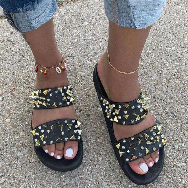 Women Casual Rivet Open Toe Slip on Sandals