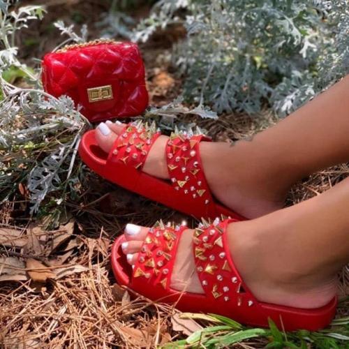 Women Casual Rivet Open Toe Slip on Sandals