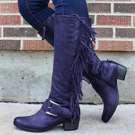 Round head European and American women's leather boots side zipper Martin boots