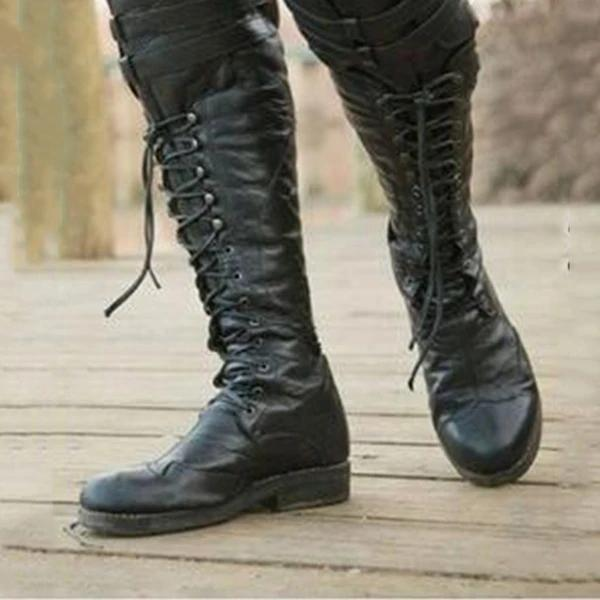 Mens fashionable cow-print leather lace-up boots