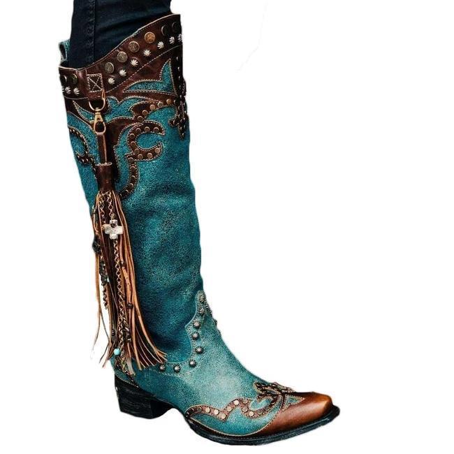 Women Retro Rivet Tassel Pendant High Boots