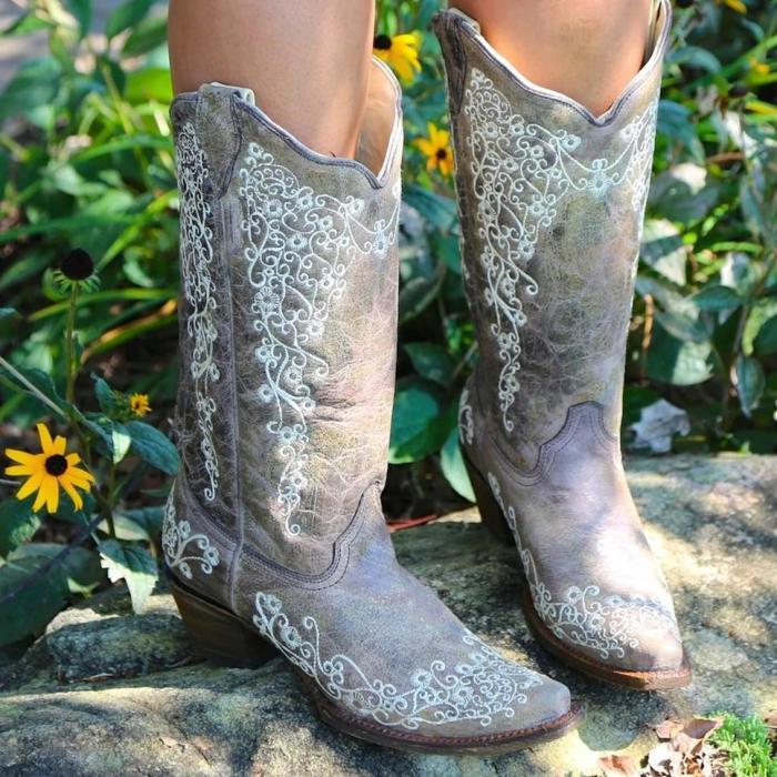 Vintage Low Heel Flower Printed Boots