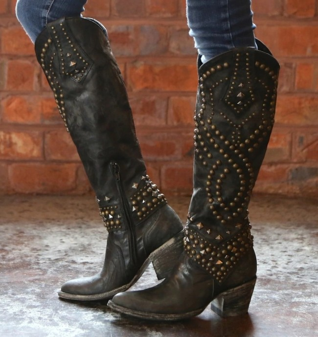 Fashion Round Toe Rivet Knee High Boots