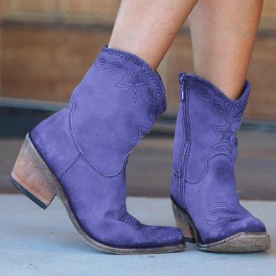 Western Retro Pointed Toe Sewing Ankle Boots