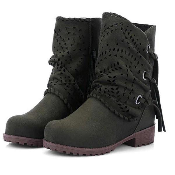 Women's Round Toe Block Heel Boots