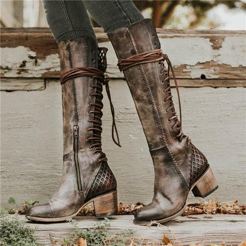 Vintage Lace-up Hollow-Out Boots Chunky Heel Color Block Boots