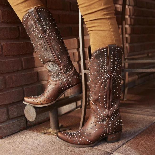 Women Vintage Low Heel Boots