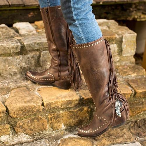 Women Pu Rivet Suede Boots