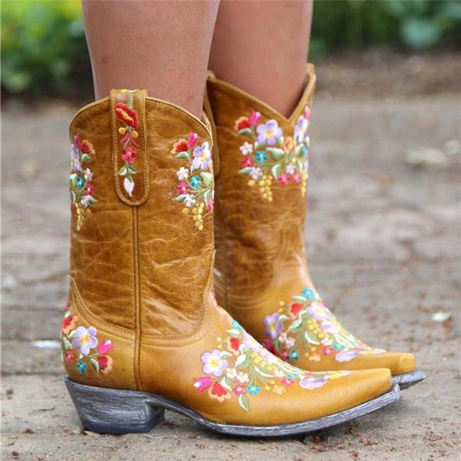 Slip-On Pointed Toe Floral Thread Boots