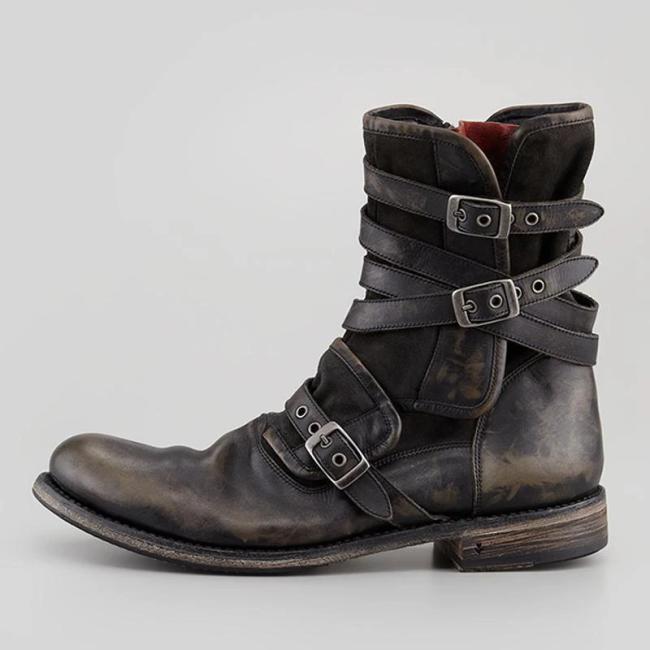 Men's Retro Multiple Buckle Retro Ankle Boots-Black Friday