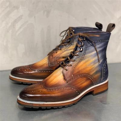 Men's Bullock Carved Genuine Leather Vintage Rub Color Martin Boots