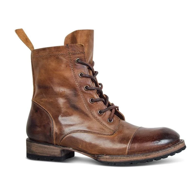 Men's Vintage Genuine Leather Lace Up Boots