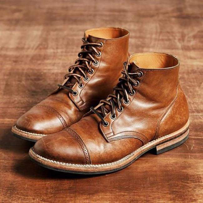 Men's Vintage PU Leather Ankle Boots