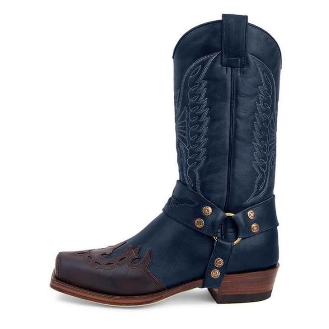 Men's Buckle Caved Cowboy Boots
