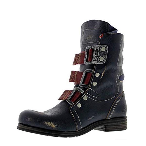 Men's Retro Buckle Hiking Boots-Black