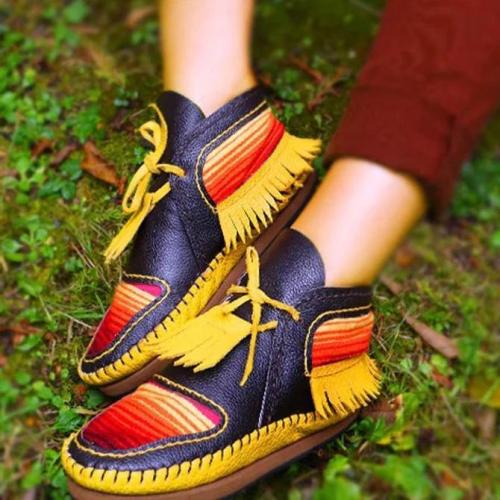 Black-Yellow Seaside Artificial Leather Flat Heel Tassel Boots