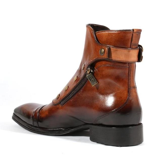 Men's Gentlemen Button Zipper Ankle Boots