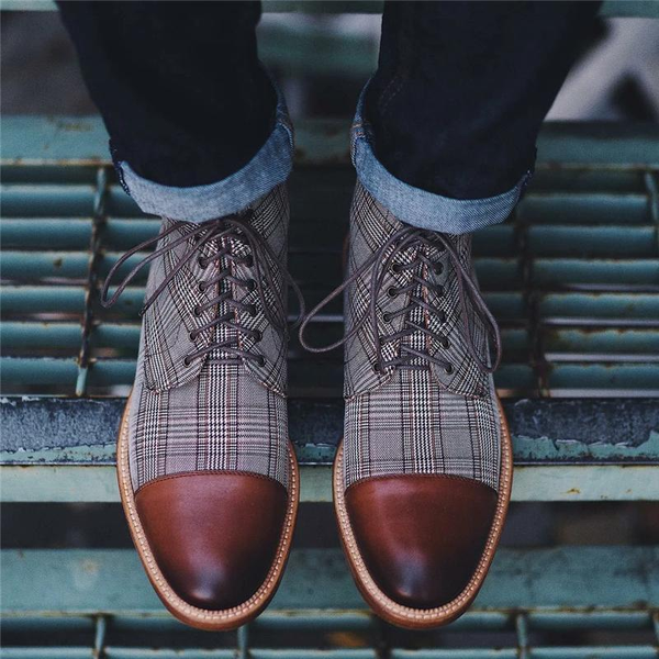 Men's Vintage Genuine Leather Plaid Lace Up Boots
