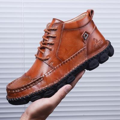 Men's Cow Split Leather Comfortable Rubber Boots