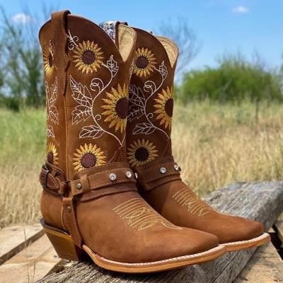Women's Natural Cowhide Leather Sunflower Boots