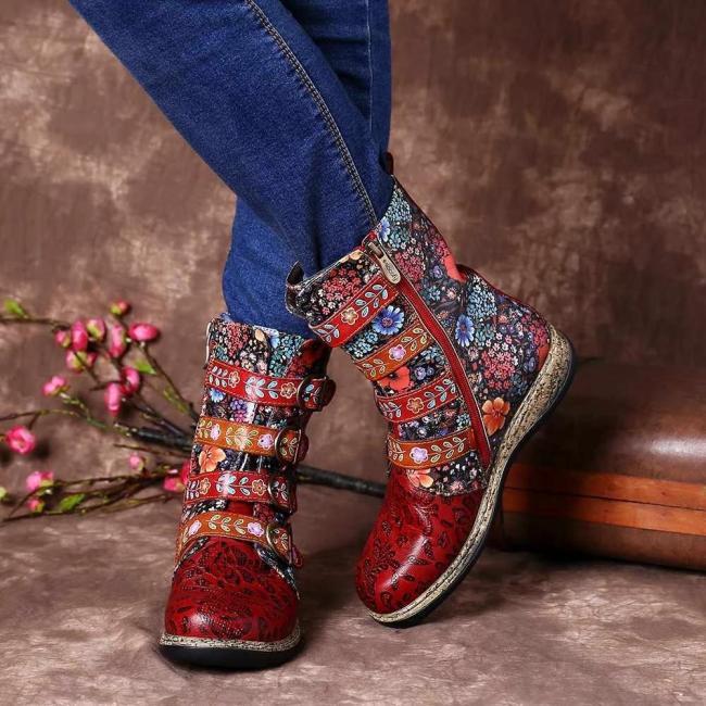 Red Flower Printed Buckle Flat Heel Boots