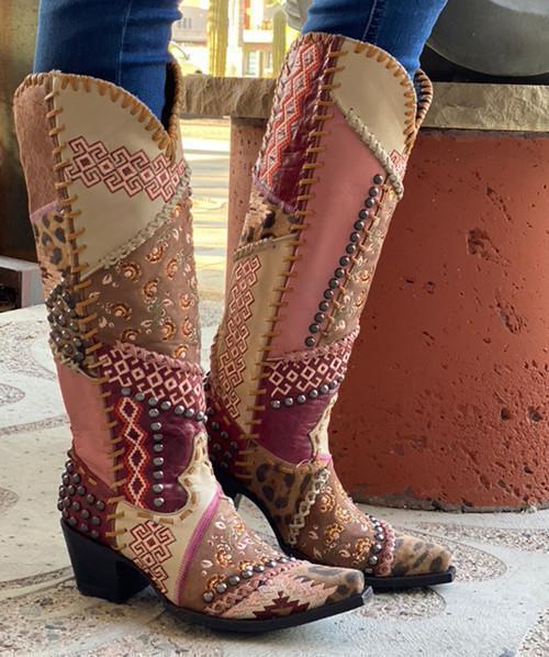 Women Rivet Color Block Ankle Boots