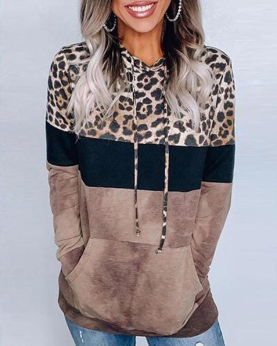 Long Sleeve Leopard Color Stitching Casual Hoodie Sweatshirt