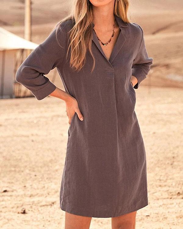 Vintage Casual Solid Linen Woman Dresses