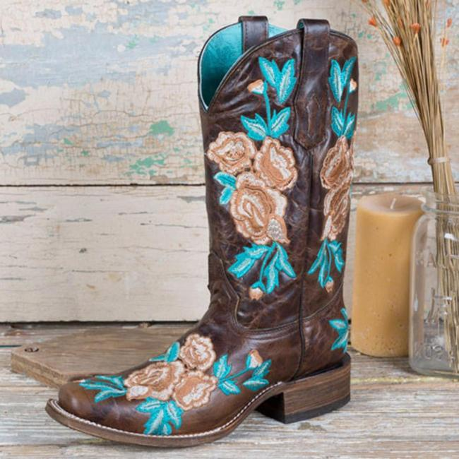 Slip-On Square Toe Block Heel Floral Embroidery Boots