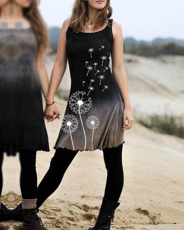 Women's Vintage Gradient Dyed Dandelion Print Dress