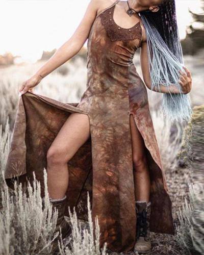 Women's Vintage Lace Split Dress