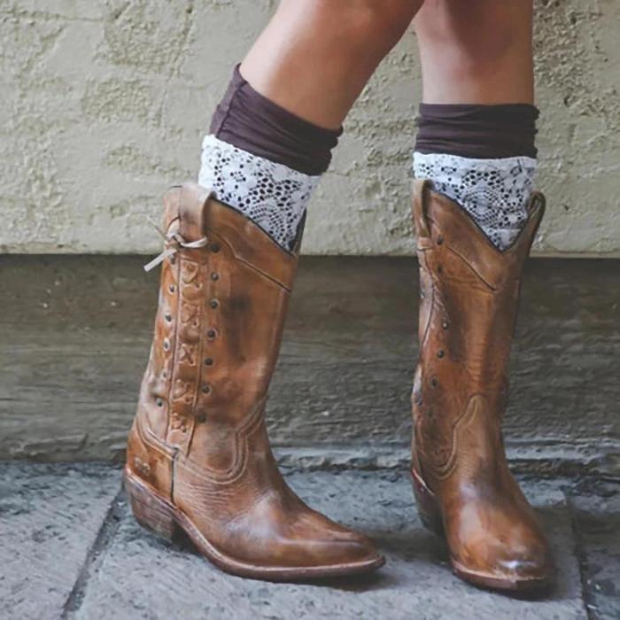 Women Zipper Pointed Toe Vintage Cowboy Boots