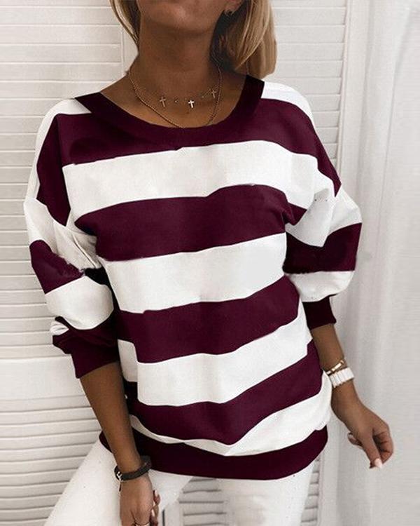 Stripe Casual Round Neck Daily Shirt Sweatshirt