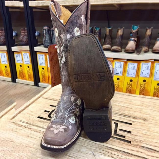 Slip-On Color Block Square Toe Thread Simple Boots