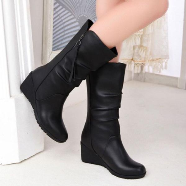 Plain High Heeled Round Toe Casual Date High Heels Boots