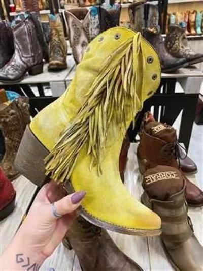 Women Low Heel Suede Boots