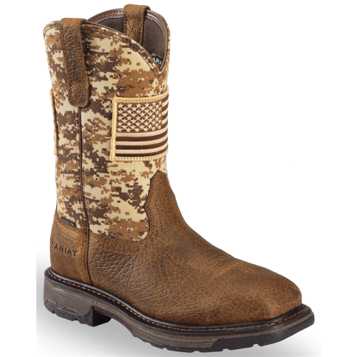 Men's Brown Workhog Patriot Western Boots - Steel Toe