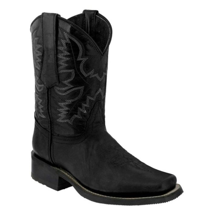 Vintage Men Boots Square Toe Western Biker Cowboy Boots