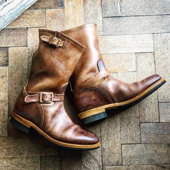 Men's Retro Patchwork Design Engineer Boots
