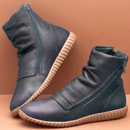 Flat Heel Zipper Boots