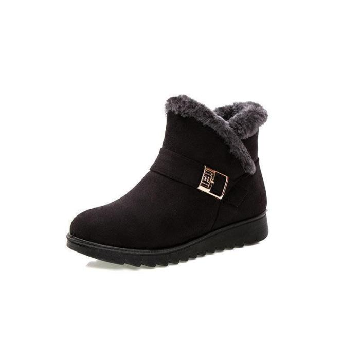 Warm Zipper Ankle Boots Women Flat Slip-on Winter Boots