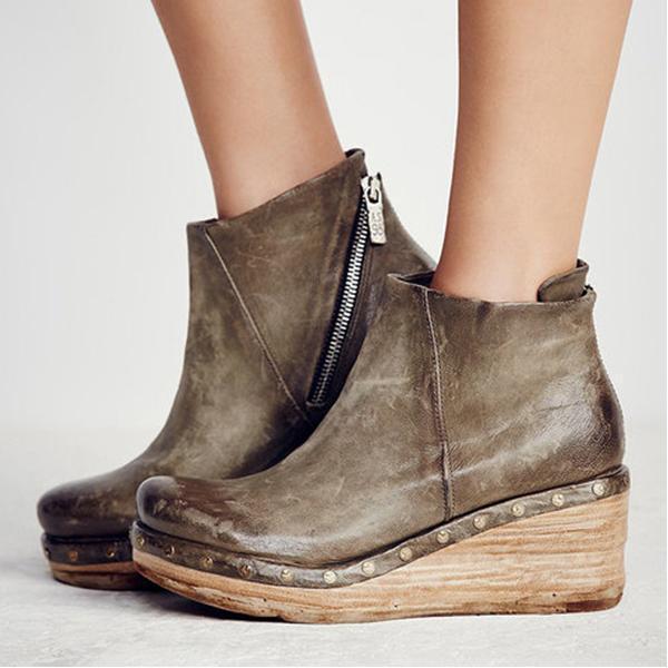 Women Vintage Zipper Wedges Clog Ankle Boots
