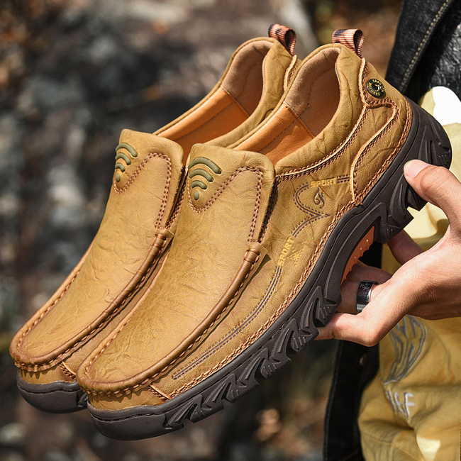 Men's Genuine Leather Hole Non Slip Comfy Outdoor Slip On Casual Shoes